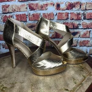 Michael Kors Gold Metallic Snake Print Heels